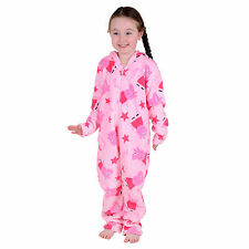 Girls Peppa Pig & Star Print Pale Pink All In One Pyjamas Size 2-3 4-5 6-7 Years