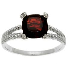 2.6ct Cushion Genuine Garnet and Diamond Ring in Silver