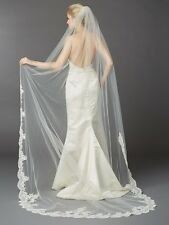 Ivory 1 Layer Embroidered Cathedral Mantilla Wedding Veil with Beaded Lace Edge
