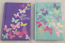 2016 DIARY SMALL POCKET WEEK TO VIEW GLITTER BUTTERFLY DESIGN PATTERNED HARDBACK