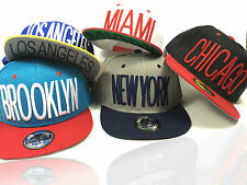 """NEW CITY"" Snapback Baseball Cap New York Miami Chicago LA Brooklyn Kappe Mütze"
