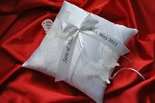 "Personalised wedding ring cushion pillow with butterflies and lace-8""x8"""