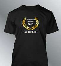 Tee shirt personnalise BACHELIER L XL XXL humour homme baccalaureat bac diplome