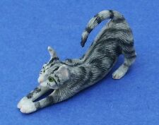 Miniature Dollhouse Gray Stretching Cat 1:12 Scale New