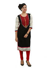 Black Rayon Cotton Straight Kurta /Kurti