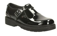 PURLEY GO JNR GIRLS CLARKS BLACK PATENT LEATHER T-BAR BUCKLE FASTEN SCHOOL SHOES