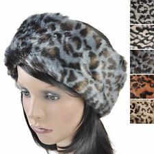 Lady Winter Leopard Animal faux ear Warmer fur Hat Soft