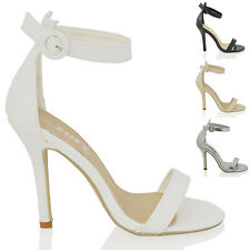 NEW WOMENS ANKLE STRAP PEEP TOE HEELS LADIES STRAPPY PARTY EVENING SANDALS SHOES