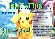 5 ou 12 cartes invitation anniversaire POKEMON ref 290