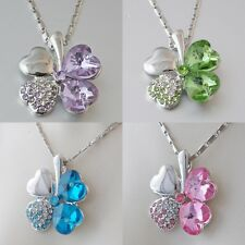 1618163374494g swarovski crystal leaf clover heart flower love pendant necklace platinum plated aloadofball Gallery