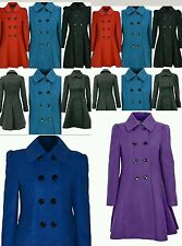 "New Ladies Winter Double Breasted Coat  Fit and Flare Womens 36""Long Jacket"