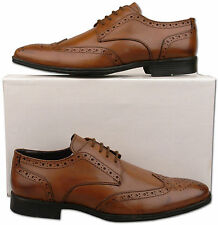 Mens New Lace Up Burnished Tan Brown Leather Brogue Shoes Size 6 7 8 9 10 11 12