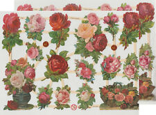 Chromo EF Découpis Fleurs Roses 7330 Embossed Illustrations Flowers