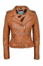 CLASSIC BRANDO Ladies Tan Biker Style Motorcycle Cruiser Hide Leather Jacket