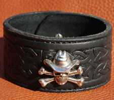 Celtic Knot Real Leather Black Skull Concho Cuff Wristband Bracelet 38mm wide