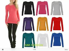 Ladies Womens Long Sleeve Plain Stretch Round Scoop Neck T Shirt Top 8-24