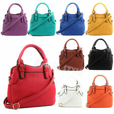 Woman Faux Leather Multi Pockets Top Handle Tote With Long Strap Satchel