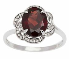 White Gold 3.16ct Oval Garnet and Pave Curved Halo Diamond Ring