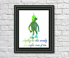 Bender Futurama Art Print Illustration Poster Silhouette Bender Quote Print