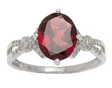 White Gold 3.20ct Oval Garnet and Split-Shank Diamond Ring
