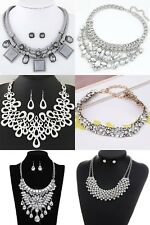 statement Collar Bib Rhinestone chunky statement pendant Chains Necklace