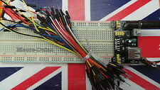 MB102 830 Tie Point Breadboard w/ 3.3V 5V Power Supply Module & 65 Jumper Cables