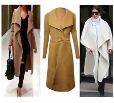 New Italian Celebrity Waterfall Drape Belted Coat Jacket Abaya Long Sleeve Cape