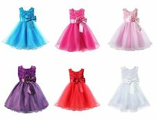 Girls Bridesmaid Dress Baby Flower Kids Party Rose Bow Wedding Dresses Princess