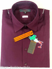 TIPO'S Camicia Uomo Slim Fit cotone Stretch colore BORDEAUX (100% made in Italy)