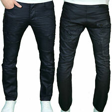 Eto Mens Designer Branded Straight Fit Black Coated Jeans, BNWT