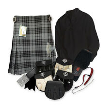 PARTY KIT KILT OUTFIT - GRANITE GREY - BLACK - SIZE & UPGRADE OPTIONS !