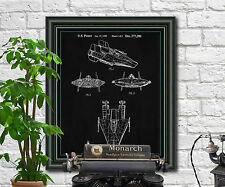 Star Wars A-Wing Patent Print Spaceship Blueprint Art SciFi Poster Illustration