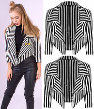 Women's Black White Striped ¾ Sleeve Crop Length Waterfall Blazer Party Jackets