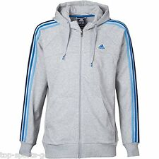 Adidas Essentials Mens 3S Full Zip Climalite® Hoodie Hoody Grey Blue Size  S