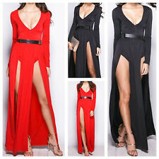 NEW WOMEN LADIES LONG SLEEVE BELTED DOUBLE SPLIT FRONT PLUNGE V NECK MAXI DRESS