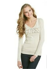 NEW GUESS JANE CRYSTAL LOGO SWEATER BACK CUT OUT SEXY KNIT TOP S, M, L, XL
