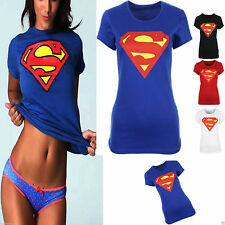 New Womens Ladies Short Sleeves Comic Superman Superhero Print T Shirt Top 8/14