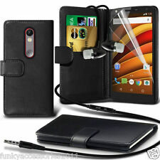 Leather Wallet Phone Case?In Ear Stereo Headset for Motorola Moto X Force