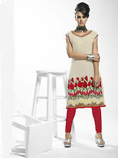 Garden Glory Girlish Look Cream Georgette Kurti / Kurta