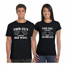 Giftsmate Loving Husband and Wife Men Women Cotton Couple Tshirts, Love Gifts