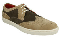 MENS ANGLO LACE UP WINGTIP SEMI BROGUE SUEDE SMART LEATHER SHOES BASE LONDON
