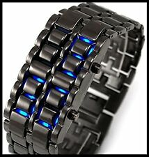 Samurai Black steel LED Watch Cum Bracelet for Men and Women (free extra battery
