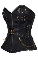Sexy Black Steampunk Gothic Punk Overbust Corset and Thong Lingerie IN STOCK