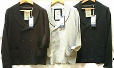 Mens Brave Soul Double Button Cardigan Brown Grey Pockets 100% Acrylic