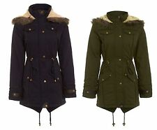 NEW WOMENS KHAKI NAVY WINTER FISHTAIL QUILTED FUR HOODED PARKA COAT SIZE 8-16