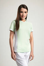 Glenmuir Ladies Eloise Performance Block Panel Golf Polo Shirt  green 75% off