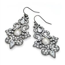 Shiny Hematite Grey Drop Earrings With Crystal & Pearl RRP £5.50 - Brand New+Tag
