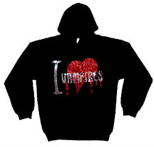 I LOVE VAMPIRES STRASS PULL CAPUCHE GOTHIQUE HORREUR