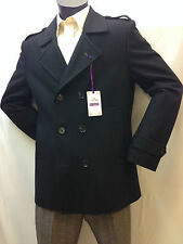 Mens Double Breasted Winter Coat Sailor Jacket  Smart Casual Formal Wool mix