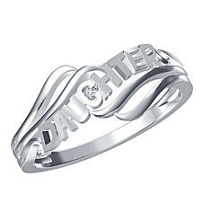 "Wonderful""DAUGHTER""Letter Ring For Women's Over Platinum 925 Silver Real Diamond"